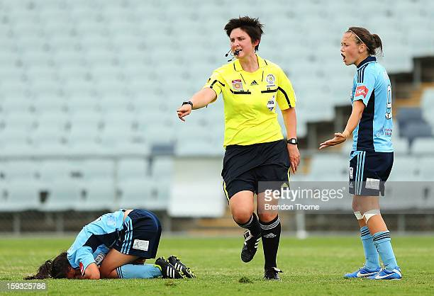 Referee Kate Jacewicz points to the spot for a Wanderers penalty during the round 12 WLeague match between the Western Sydney Wanderers and Sydney FC...