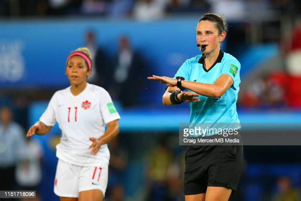 Referee Kate Jacewicz rules out a penalty after a VAR review during the 2019 FIFA Women's World Cup France Round Of 16 match between Sweden and...