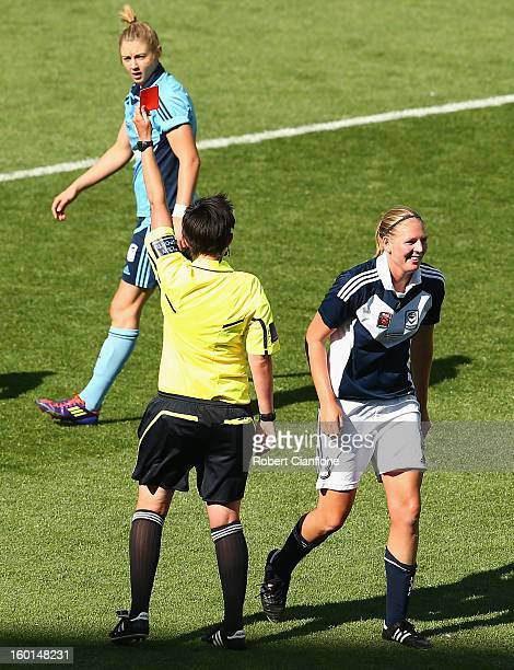 Referee Kate Jacewicz sends off Maika RuyterHooley of the Victory during the WLeague Grand Final between the Melbourne Victory and Sydney FC at AAMI...