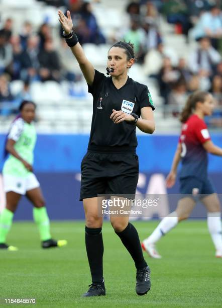 Referee Kate Jacewicz signals during the 2019 FIFA Women's World Cup France group A match between Norway and Nigeria at Stade Auguste Delaune on June...
