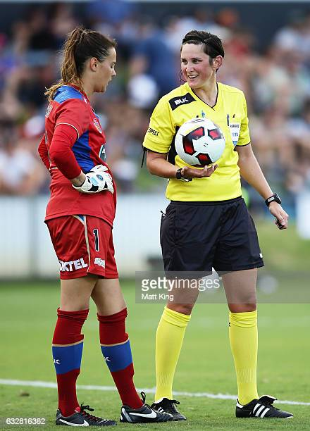 Referee Kate Jacewicz speaks to Jets goalkeeper Katelyn Rowland during the round 14 W-League match between the Newcastle Jets and Melbourne City FC...