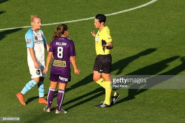 Referee Kate Jacewicz talks with Teigen Allen of Melbourne City and Shawn Billam of the Perth Glory during the 2017 WLeague Grand Final match between...