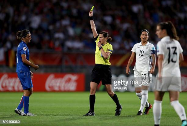 Referee Kateryna Monzul of Ukraine shows the yellow card to Marta Carissimi of Italy compete during the Group B match between Germany and Italy...