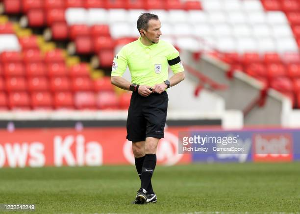 Referee Keith Stroud during the Sky Bet Championship match between Barnsley and Middlesbrough at Oakwell Stadium on April 10, 2021 in Barnsley,...