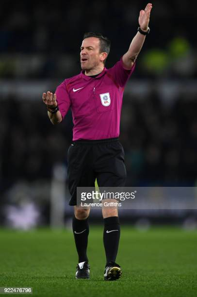 Referee Keith Stroud signals for a corner during the Sky Bet Championship match between Derby County and Leeds United at iPro Stadium on February 21...