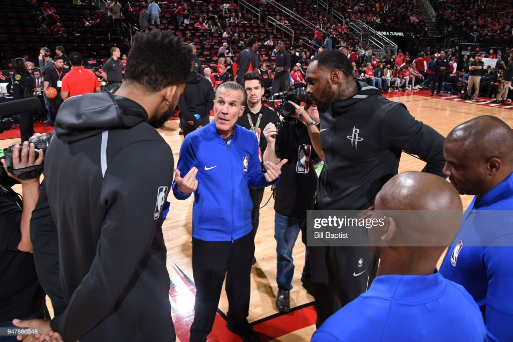 NBA referee Ken Mauer talks with the captains before the game between the Houston Rockets and the Minnesota Timberwolves in Game One of Round One of the 2018 NBA Playoffs on April 15, 2018 at the Toyota Center in Houston, Texas.