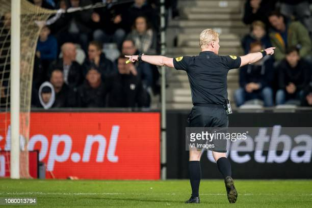 referee Kevin Blom cancels the goal of Denzel Dumfries of PSV after advising the VAR Video assistant referee during the Dutch Eredivisie match...