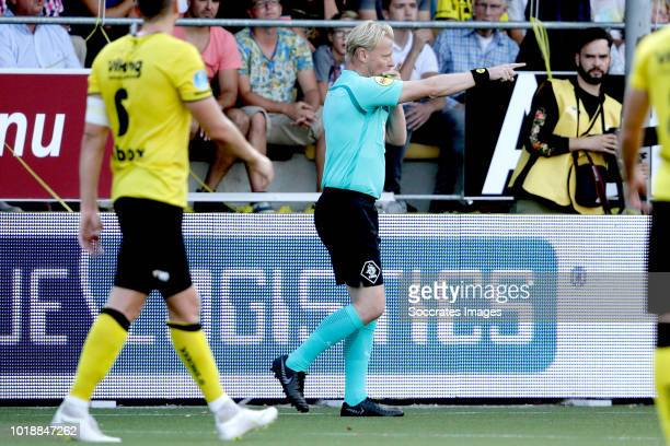 referee Kevin Blom cancels the goal on advice from the Video Assistant referee VAR during the Dutch Eredivisie match between VVVvVenlo Ajax at the...