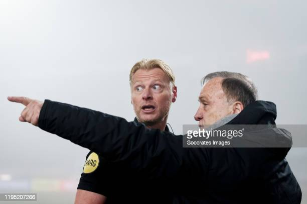 Referee Kevin Blom, coach Dick Advocaat of Feyenoord during the Dutch KNVB Beker match between Fortuna Sittard v Feyenoord at the Fortuna Sittard...