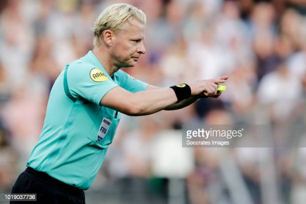 Referee Kevin Blom consulting the VAR Video Assistant Referee during the Dutch Eredivisie match between VVVvVenlo Ajax at the Seacon Stadium De Koel...