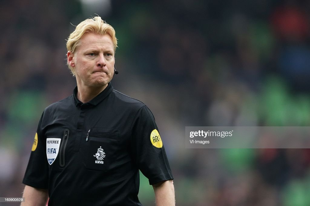 Referee Kevin Blom during the Dutch Eredivisie match between FC Groningen and FC Twente at the Euroborg Stadium on march 17, 2013 in Groningen, The Netherlands