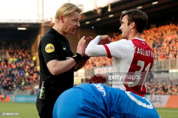 referee Kevin Blom Nicolas Tagliafico of Ajax during the Dutch Eredivisie match between PEC Zwolle v Ajax at the MAC3PARK Stadium on February 18 2018...