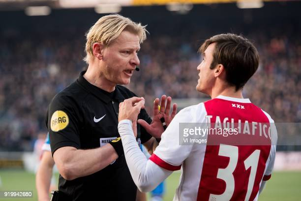 referee Kevin Blom Nicolas Tagliafico of Ajax during the Dutch Eredivisie match between PEC Zwolle and Ajax Amsterdam at the MAC3Park stadium on...