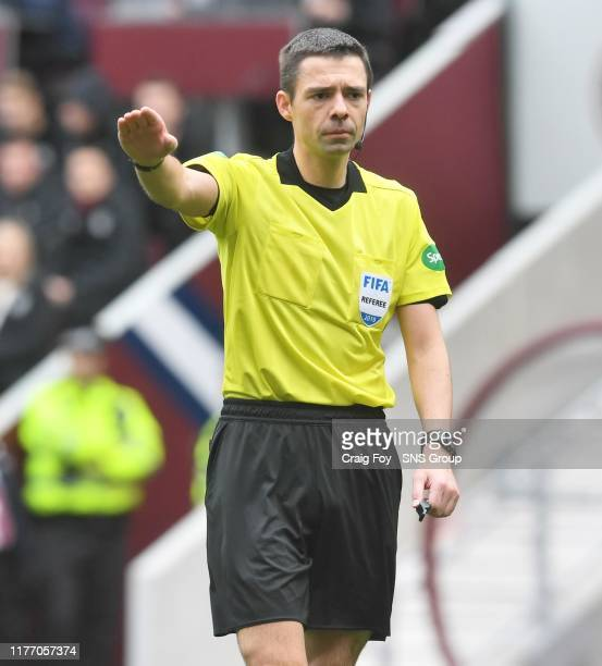 Referee Kevin Clancy during the Ladbrokes Premiership match between Heart of Midlothian and Rangers at Tynecastle Park on October 20 in Edinburgh,...