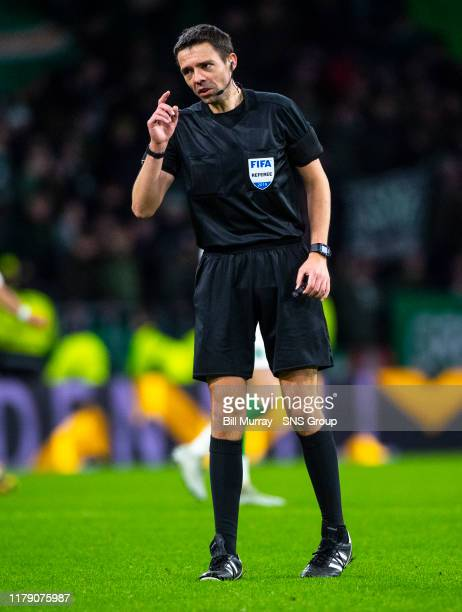 Referee Kevin Clancy during the Ladbrokes Premiership match between Celtic and St Mirren at Celtic Park Stadium on October 30 2019 in Glasgow Scotland
