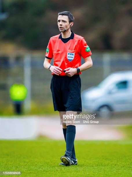 Referee Kevin Clancy during the Ladbrokes Premiership match between St. Johnstone and Livingston, at McDiarmid Park, on March 07 in Perth, Scotland.