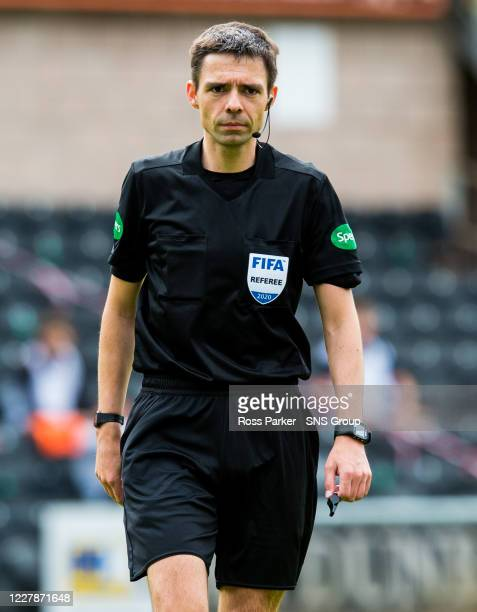 Referee Kevin Clancy during the Scottish Premiership match between Dundee United and St Johnstone at Tannadice Park on August 01 in Dundee, Scotland.