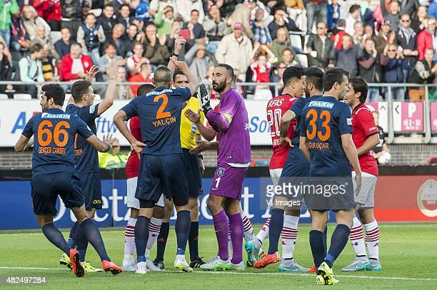 referee Kevin Clancy give a red card to goalkeeper Volkan Barbican of Istanbul Basaksehir during the Europa league third qualifying round match...
