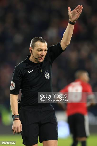 Referee Kevin Friend awards a freekick as a result of a Video Assistant Referee decision during The Emirates FA Cup Fifth Round match between...