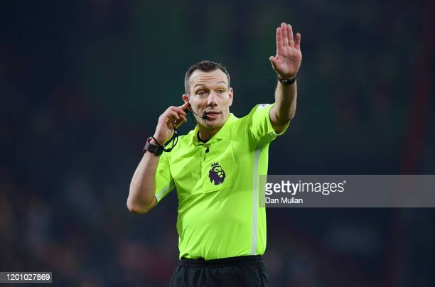 Referee Kevin Friend checks for VAR during the Premier League match between AFC Bournemouth and Brighton & Hove Albion at Vitality Stadium on January...