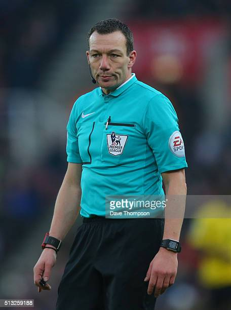 Referee Kevin Friend during the Barclays Premier League match between Stoke City and Aston Villa at the Britannia Stadium on February 27 2016 in...