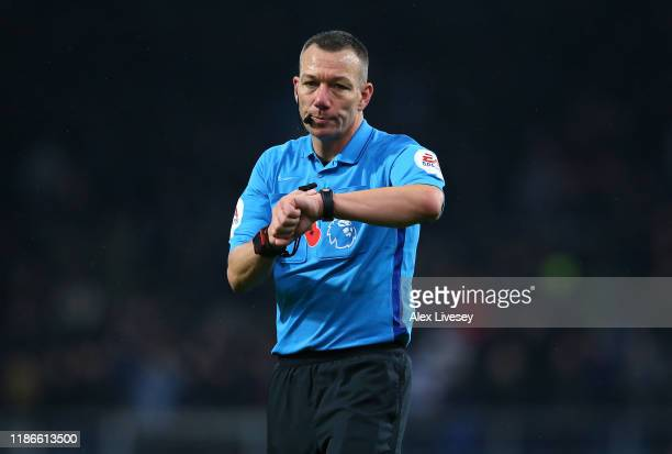 Referee Kevin Friend during the Premier League match between Burnley FC and West Ham United at Turf Moor on November 09, 2019 in Burnley, United...