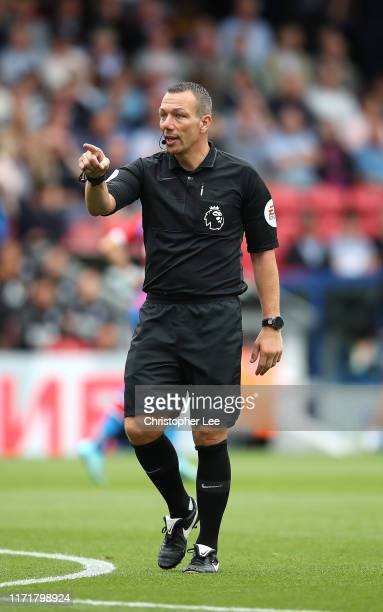Referee Kevin Friend during the Premier League match between Crystal Palace and Aston Villa at Selhurst Park on August 31, 2019 in London, United...