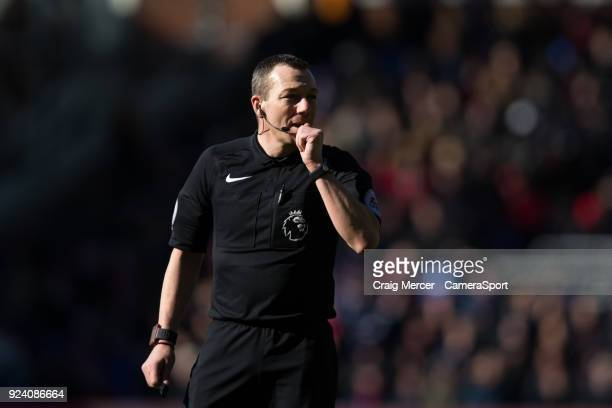 Referee Kevin Friend during the Premier League match between Crystal Palace and Tottenham Hotspur at Selhurst Park on February 25 2018 in London...