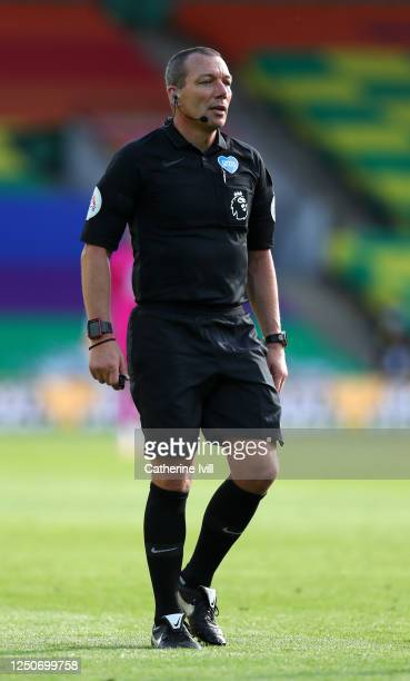 Referee Kevin Friend during the Premier League match between Norwich City and Southampton FC at Carrow Road on June 19, 2020 in Norwich, England.