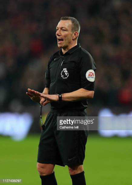 Referee Kevin Friend during the Premier League match between West Ham United and Liverpool FC at London Stadium on February 04 2019 in London United...