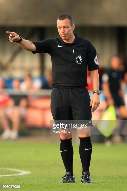Referee Kevin Friend during the Pre-Season Friendly between Bristol City v Cheltenham Town on July 10, 2018 in Weston-Super-Mare, England.