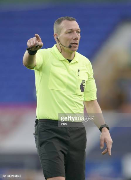 Referee Kevin Friend gestures during the Premier League match between Everton and Crystal Palace at Goodison Park on April 05, 2021 in Liverpool,...