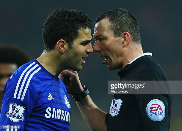Referee Kevin Friend in discussion with Cesc Fabregas of Chelsea during the Barclays Premier League match between Sunderland and Chelsea at Stadium...