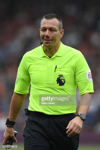 Referee Kevin Friend looks on during the Premier League match between AFC Bournemouth and Cardiff City at Vitality Stadium on August 11, 2018 in...