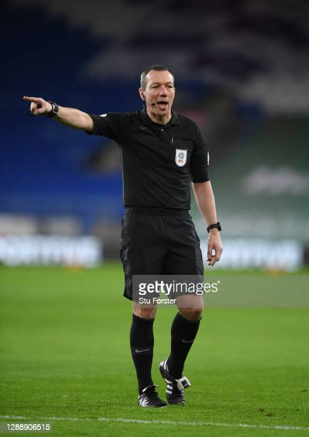 Referee Kevin Friend makes a decision during the Sky Bet Championship match between Cardiff City and Huddersfield Town at Cardiff City Stadium on...