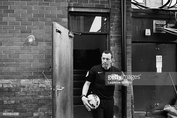 Referee Kevin Friend prepares for the FA Cup Fifth Round match between Bradford City and Sunderland at Coral Windows Stadium Valley Parade on...