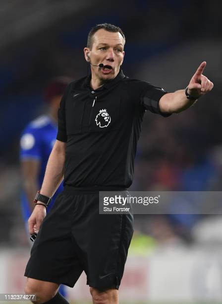 Referee Kevin Friend reacts during the Premier League match between Cardiff City and Everton FC at Cardiff City Stadium on February 26, 2019 in...