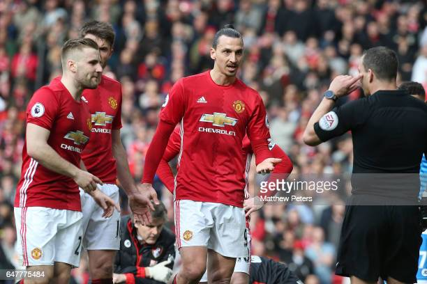 Referee Kevin Friend speaks to Zlatan Ibrahimovic of Manchester United during the Premier League match between Manchester United and AFC Bournemouth...