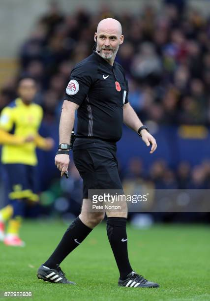 Referee Kevin Johnson in action during the Sky Bet League One match between Oxford United and Northampton Town at Kassam Stadium on November 11 2017...