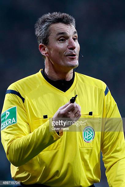 Referee Knut Kircher in action during the First Bundesliga match between SV Werder Bremen and SC Paderborn 07 at Weserstadion on November 29 2014 in...
