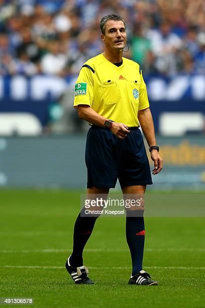 Referee Knut Kircher is seen during the Bundesliga match between FC Schalke 04 and 1 FC Koeln at VeltinsArena on October 4 2015 in Gelsenkirchen...