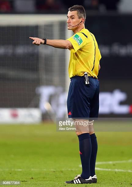 Referee Knut Kircher reacts during the Bundesliga match between Bayer Leverkusen and FC Bayern Muenchen at BayArena on February 6 2016 in Leverkusen...