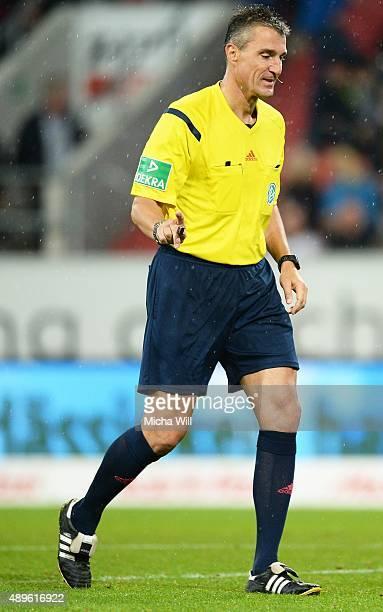 Referee Knut Kircher reacts during the Bundesliga match between FC Ingolstadt and Hamburger SV at Audi Sportpark on September 22 2015 in Ingolstadt...