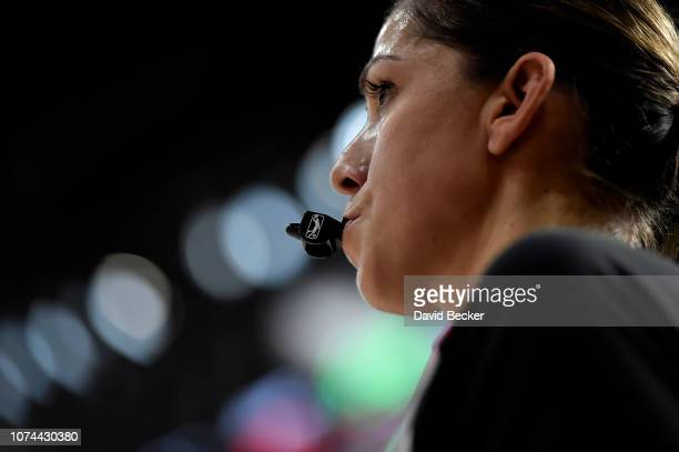 Referee Kristyne Esparza looks on game between the Texas Legends and the Erie BayHawks during the NBA G League Winter Showcase at Mandalay Bay Events...