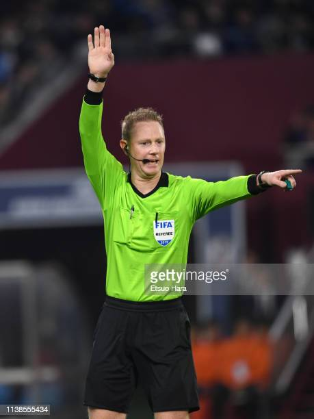 Referee Kurt Ams of Australia gestures during the international friendly match between Japan and Bolivia at Noevir Stadium Kobe on March 26 2019 in...