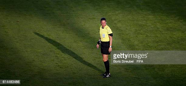 Referee Laura Fortunato looks on during the FIFA U17 Women's World Cup Quarter Final match between Korea DPR and Ghana at Al Hassan International...