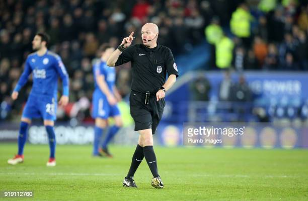 Referee Lee Mason during the FA Cup fifth round match between Leicester City and Sheffield United at King Power Stadium on February 16th 2018 in...