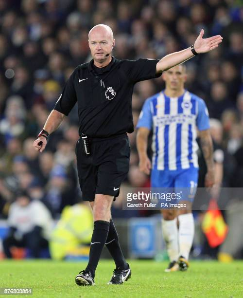 Referee Lee Mason during the Premier League match at the AMEX Stadium Brighton