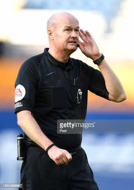 Referee Lee Mason gives instructions during the Premier League match between West Bromwich Albion and Brighton & Hove Albion at The Hawthorns on...