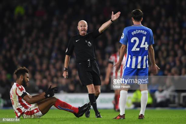 Referee Lee Mason in action during the Premier League match between Brighton and Hove Albion and Stoke City at Amex Stadium on November 20 2017 in...